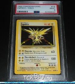 PSA 9 MINT Zapdos 16/102 Base Set HOLO RARE Pokemon Card