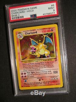 PSA-9 Pokemon CHARIZARD Card BASE II/2 Set #4/130 Rare Holo withSwirl! Graded MINT