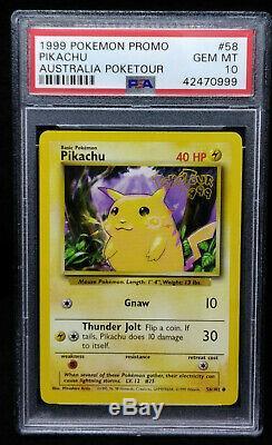 Pikachu 58 Promo Card PSA 10 Australia Poketour 1999 Pokemon Gem Mint 10 RARE
