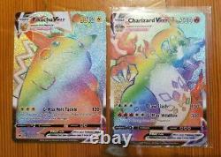 Pokemon 10 Card Lot With Ultra Rare V GX EX Vmax Full Art Rainbow + 3 Holo Rare