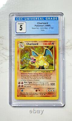 Pokemon Base Set 1999 Unlimited Charizard #4/102 Holo CGC 5 Card RARE PSA BGS
