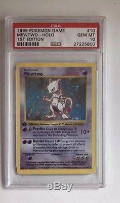 Pokemon Card 1st Edition Mewtwo Base Set 10/102, PSA 10 Gem Mint