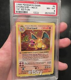 Pokemon Card 1st edition shadowless CHARIZARD PSA 8 NM-MT GREY STAMP