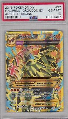 Pokemon Card PSA 10 Gem Mint PRIMAL GROUDON EX 97/98 Ultra Rare Ancient Origins