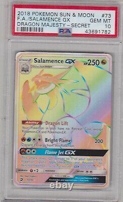 Pokemon Card PSA 10 Gem Mint SALAMENCE GX 73/70 Secret Rare Dragon Majesty