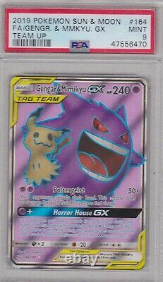 Pokemon Card PSA 9 Mint GENGAR & MIMIKYU GX 164/181 Ultra Rare Team Up