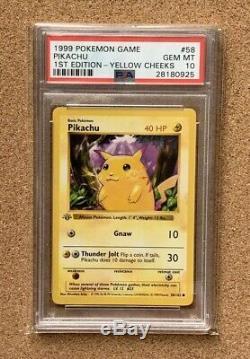 Pokémon Card Pikachi 1st Edition Shadowless Yellow Cheeks. PSA 10. VERY RARE