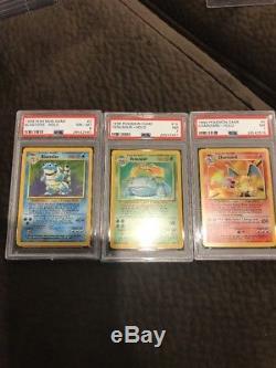 Pokemon Card Psa 7 And 8 Blastoise Venusaur Charizard Lot Base Set