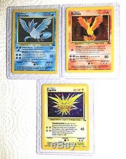Pokemon Cards Original Legendary Birds Zapdos Articuno Moltres Fossil Holo