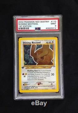 Pokemon Neo Destiny 1st Ed. # 110/105 Shining Noctowl ultra rare card PSA 9