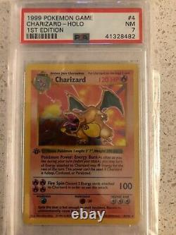 Pokemon PSA 7 NEAR MINT Charizard 1ST EDITION BASE SET 1999 CARD #4 -THICK STAMP