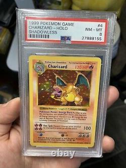 Pokemon Shadowless Base Set # 4 Charizard Holo PSA 8 Card Near Mint-Mint Rare