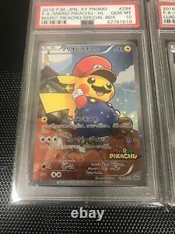 Psa 10 Mario Luigi Pikachu Full Art Promo Japanese Pokemon #294 #296 Card XY