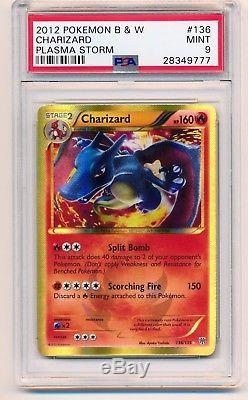 Psa 9 Charizard B & W Plasma Storm 126/135 Secert Rare Holo
