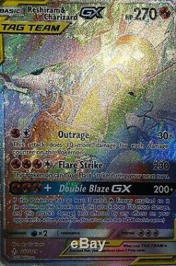 Rainbow Rare Reshiram & Charizard Gx 217/214 tag team Pokemon Card