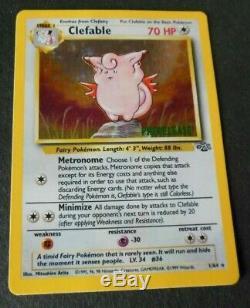 Rare HTF 1999 POKEMON UNLIMITED PreRELEASE CLEFABLE JUNGLE HOLO CARD #1/64