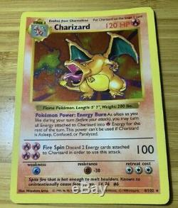 SHADOWLESS CHARIZARD 4/102 Holo Foil Rare Base Set Pokemon Card 1999 NM/LP