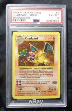SHADOWLESS CHARIZARD 4/102 PSA 6 Holo Foil Rare Base Set Pokemon Card EX-MT