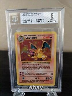 Shadowless Charizard 4/102 Base Set Near Mint 8 BGS Pokemon Card Holo Foil Rare
