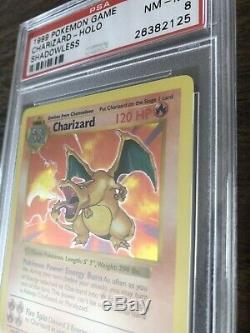 Shadowless Charizard Base Set Holo Pokemon Card PSA 8 Rare 4/102