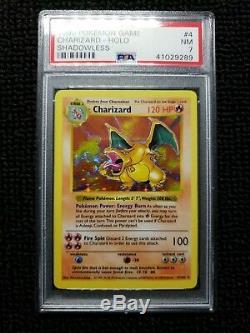 Shadowless Charizard Pokemon Card Holo Base set! PSA 7