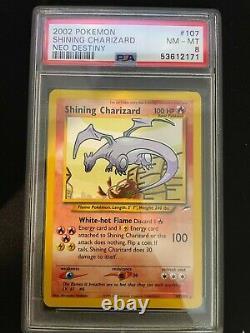 Shining Charizard 107/105 NEO DESTINY Graded Pokemon Card PSA 8