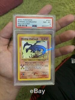 Shining Charizard Pokemon Card Neo Destiny 107/105 Secret Rare PSA Graded 8 NM-M