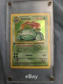 Venusaur 1st Edition (NM) Shadowless Holo Foil Base Set Rare Pokemon Card 15/102