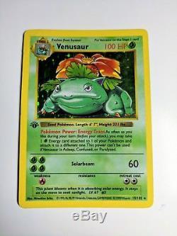 Venusaur Base Set Shadowless 1st EDITION Holo Rare Pokemon Card 15/102 English