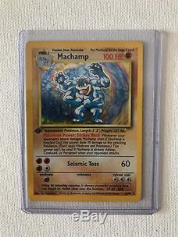 1995 1ère Édition Rare Holo Foil Machamp Carte Pokémon À Proximité De La Presse 10/102