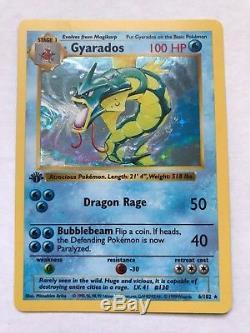 1999 Carte Pokémon 1ère Édition Ensemble De Base De Gyarados Sans Ombres 6/102 Holo Rare