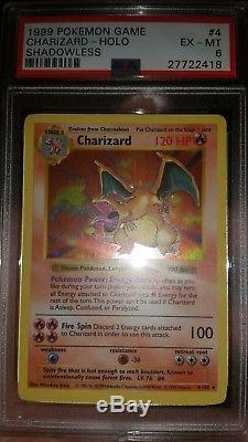 1999 Pokemon Charizard Shadowless Psa 6. Carte Rare