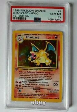 1999 Pokemon Espagnol Charizard 1ère Édition Holo (carte # 4/102) Psa 10 Gem Mint