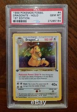 1999 Psa 10 1ère Édition Dragonite 4/62 Fossil Holo Ultra Rare Pokemon Card