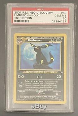 1er Ed Umbreon Holo Rare Wotc Carte Pokemon 13/75 Neo Discovery Psa 10 Gem Mint