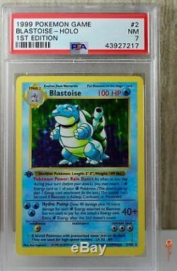 1ère Édition Blastoise Holo Rare Set Wotc Carte Pokémon 1999 2/102 Base De Psa 7 Nm