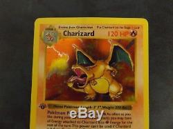 1ère Édition Charizard Holo Shadowless 4/102 Pokemon Carte Rare Lp Ou Mieux