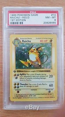 1ère Édition Shadowless Base Set Raichu Pokémon Carte Psa 8 Super Rare