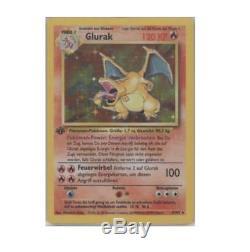 1st Ed Edition Allemand Charizard Glorak 4/102 Holo Ultra Rare Foil Pokemon Card