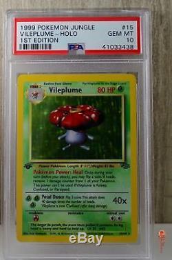 1st Ed Vileplume Holo Rare Wotc Carte Pokemon 15/64 Jungle Set Psa 10 Gem Mint