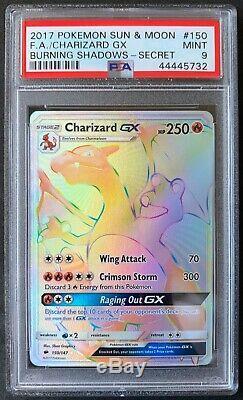 2017 Carte Pokemon Charizard Gx Brûler Ombres Hyper Rare 150/157 Psa 9 Mint