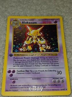 Alakazam 1/102 1ère Édition First Ed De Base Ultra Rare Holo Foil Carte Pokemon