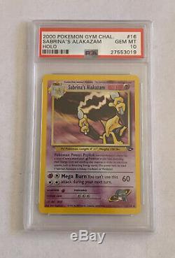 Alakazam 16/132 Gym Défi Holo Rare Carte Pokémon De Psa 10 Gem Mint Sabrina