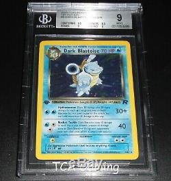 Bgs 9 Mint Noir Blastoise 3/82 1ère Édition De L'équipe Rocket Holo Rare Carte Pokemon
