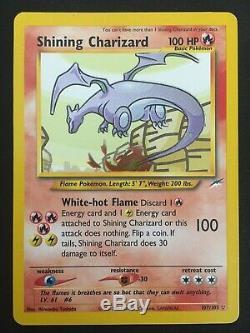 Brillant Charizard 107/105 Neo Destin Secret Rare Pokemon Grande Carte Binder