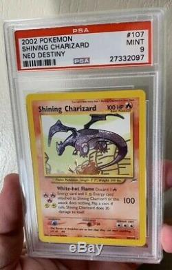 Brillant Charizard Psa 9 Mint 107/105 Neo Destin Secret Rare Brillante Carte Pokemon