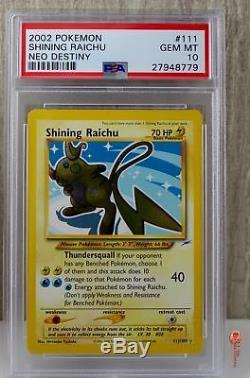 Brillant Raichu Secret Rare Pokemon Carte 111/105 Neo Destiny Set Psa 10 Gem Menthe
