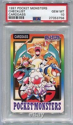 Carte De Pokemon Japonais 1997 Bandai Carddass Charizard Liste De Vérification, Psa 10 Gem Mint
