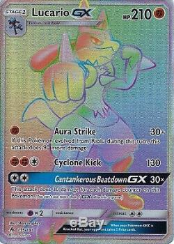 Carte Lumière Interdite Pokemon Sm Lucario Gx 135/131 Rainbow Rare Holo
