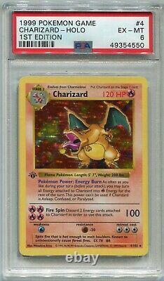 Carte Pokemon Charizard 1ère Édition Shadowless De Base 4/102, Psa 6 Ex-mt